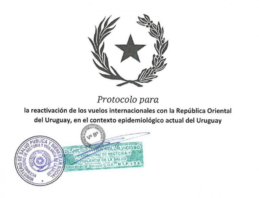 Protocolo del Ministerio de Salud Pública y Bienestar Social del Paraguay para la reactivación de los vuelos internacionales con la República Oriental del Uruguay