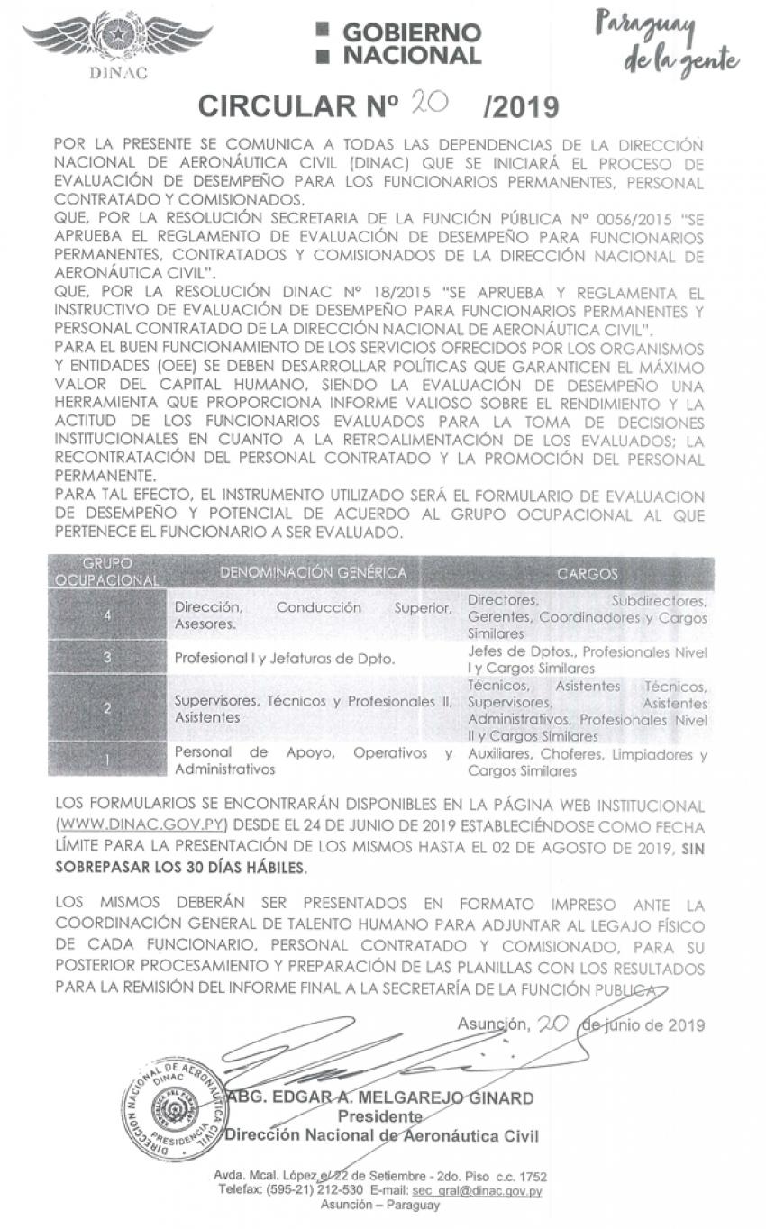 Circular N° 20 - Inicio del Proceso de Evaluación de Desempeño