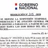Resolución DINAC N° 313/2020 - Suspensión temporal de vuelos comerciales y aviación general